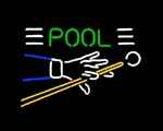 pool cue sign